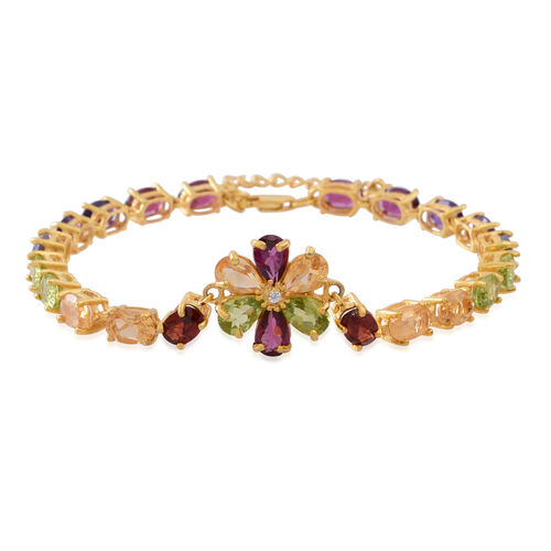 Multi GemStones (Ovl), White Topaz Floral Bracelet (Size 7 with 1 inch Extender) in 14K Gold Overlay Sterling Silver 13.500  Ct.