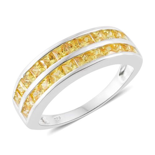 ELANZA AAA Simulated Yellow Diamond (Princess Cut) Ring in Sterling Silver