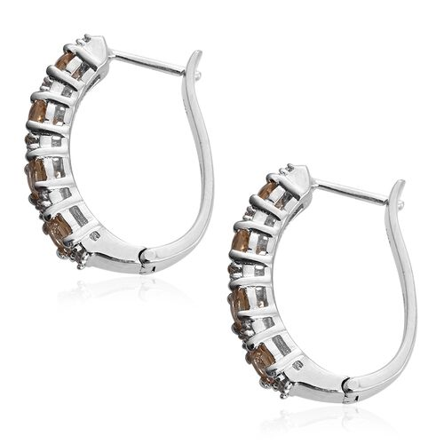 Imperial Topaz (Rnd), Natural Cambodian Zircon Hoop Earrings (with Clasp) in Platinum Overlay Sterling Silver 2.500 Ct.