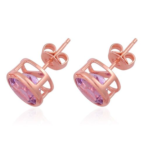Rose De France Amethyst (Rnd) Stud Earrings (with Push Back) in Rose Gold Overlay Sterling Silver 3.000 Ct.