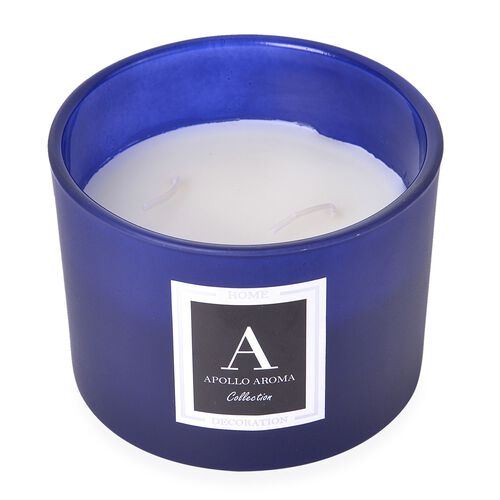 Home Decor - Ocean Breeze Fragrance Aromatic Candle in Blue Colour Glass Container (Size 10X8 Cm)
