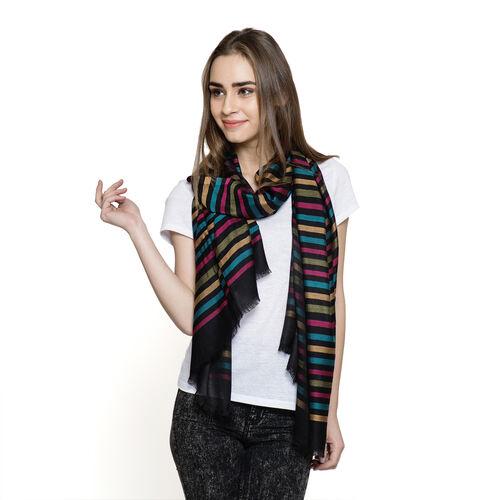 100% Modal Black and Multi Colour Stripe Pattern Jacquard Scarf (Size 190x70 Cm)