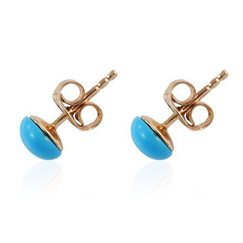 9K Yellow Gold AA Arizona Sleeping Beauty Turquoise (Rnd) Stud Earrings (with Push Back) 1.400 Ct.