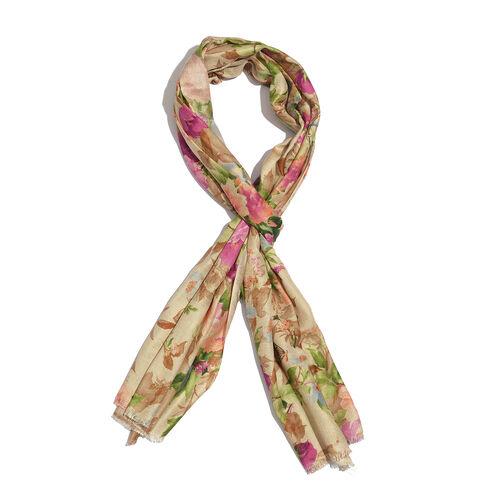 100% Modal Multi Colour Floral Pattern Beige Colour Scarf (Size 200x70 Cm)