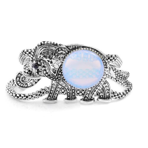 Opalite and Black Austrian Crystal Elephant Bracelet (Size 8) in Black Tone 48.500 Ct.