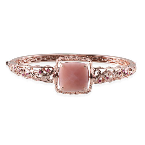 GP Peruvian Pink Opal (Cush 15.25 Ct), Burmese Ruby and Kanchanaburi Blue Sapphire Interchangeable Bangle (Size 7.5) in Rose Gold Overlay Sterling Silver 15.500 Ct.