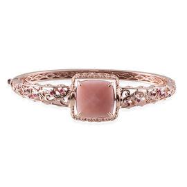 GP Peruvian Pink Opal (Cush 15.25 Ct), Burmese Ruby and Kanchanaburi Blue Sapphire Interchangeable Bangle (Size 7.5) in Rose Gold Overlay Sterling Silver 15.500 Ct.