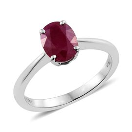 RHAPSODY 950 Platinum AAAA Burmese Ruby (Ovl) Solitaire Ring 1.500 Ct.