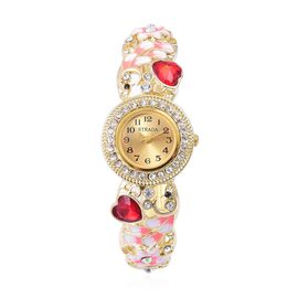 STRADA Japanese Movement Simulated Ruby, White and Black Austrian Crystal Enameled Heart and Floral Design Bangle Watch in Gold Tone