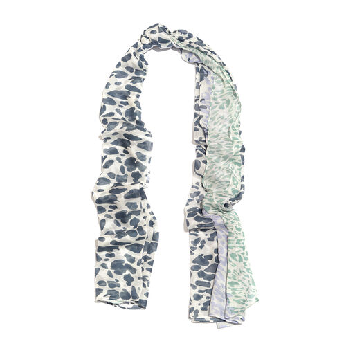 Blue, Purple and Green Colour Leopard Pattern White Colour Scarf (Size 180x100 Cm)