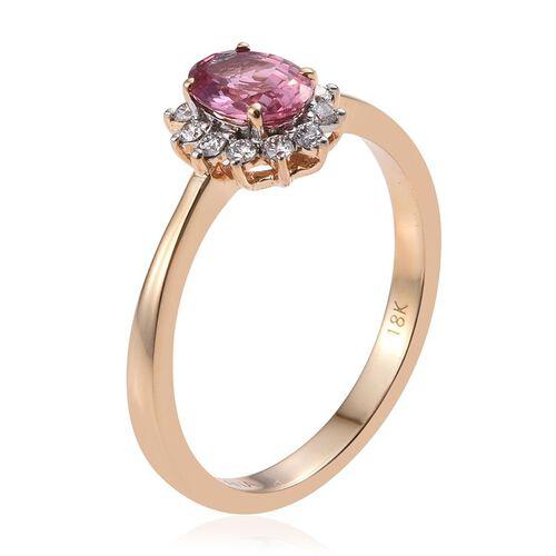 ILIANA 18K Yellow Gold Padparadscha Sapphire (Oval 0.85 Ct), Diamond (SI G-H) Engagement Ring 1.000 Ct.