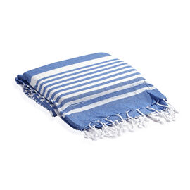 100% Supersoft Cotton Hammam Towel with Blue and White Stripes and Inserted Foam Pillow (size 90x170 cm)