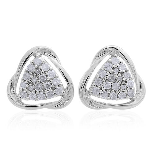 9K White Gold 0.50 Carat SGL Certified Diamond I3/G-H Trillion Cluster Stud Earrings (with Push Back)