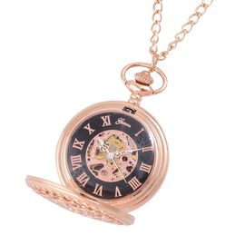 GENOA Automatic Skeleton Pocket Watch with Cutout Pattern Cover and Chain (Size 32) in Rose Gold Tone