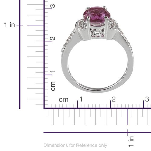 Kunzite Colour Quartz (Ovl 3.25 Ct), White Topaz Ring in Platinum Overlay Sterling Silver 3.750 Ct.