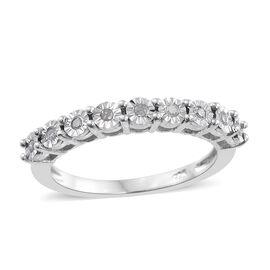 Diamond Silver Stacker Ring in Platinum Overlay