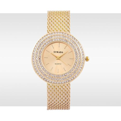 STRADA Japanese Movement Golden Dial White Austrian Crystal Water Resistant Watch in Gold Tone with Stainless Steel Back and Chain Strap