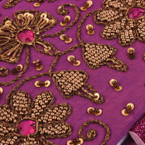 Hand Crafted Embellished Zari Work Purple and Brown Notebook with Pen Set (Size 17.78X12.70 Cm)