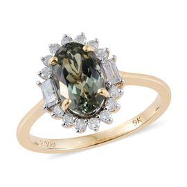 9K Yellow Gold AA Natural Green Tanzanite (Ovl 2.40 Ct), Diamond (I3/G-H) Ring 2.900 Ct.