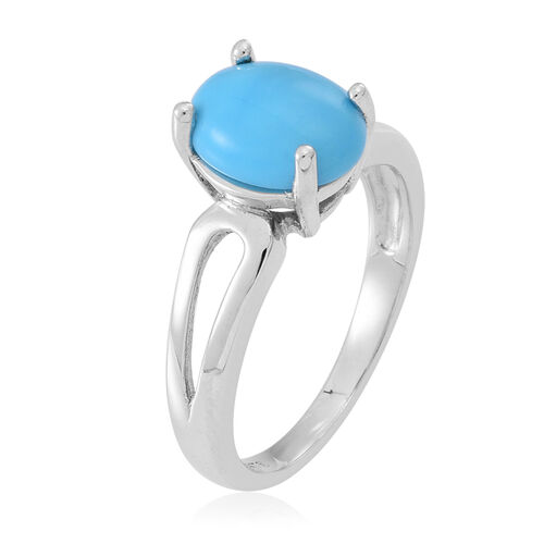 Arizona Sleeping Beauty Turquoise (Ovl) Solitaire Ring in Sterling Silver 2.000 Ct.