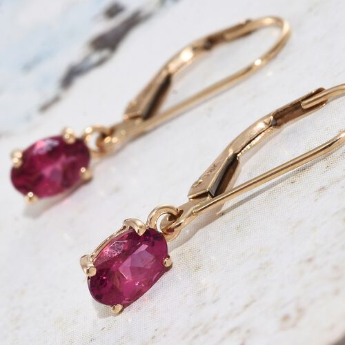 ILIANA 18K Yellow Gold 1 Carat AAA Rubelite Oval Solitaire Lever Back Earrings.