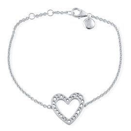 RACHEL GALLEY Rhodium Plated Sterling Silver Heart Bracelet (Size 8 with Extender)