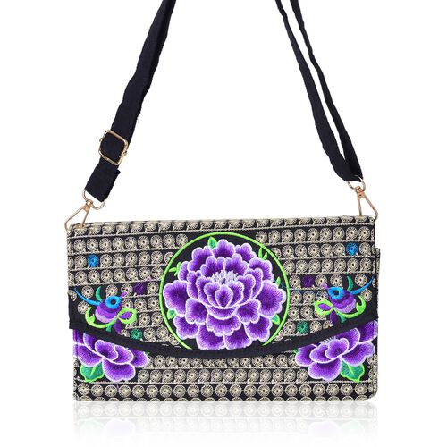 Purple, Black and Multi Colour Floral Embroidered Crossbody Bag with Adjustable and Removable Shoulder Strap (Size 25x14.5x6 Cm)