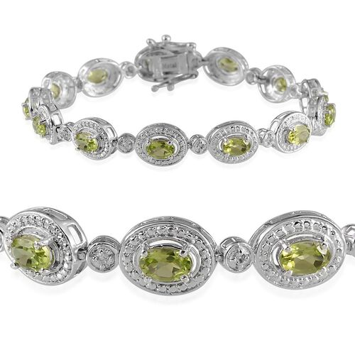 Hebei Peridot (Ovl), White Topaz Bracelet in Platinum Overlay Sterling Silver (Size 7.5) 7.250 Ct.