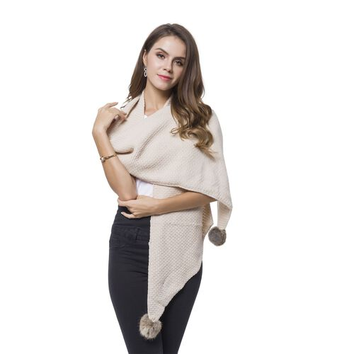 Cream Colour Knitted Scarf with 2 Pom Pom (Size 180X33 Cm)