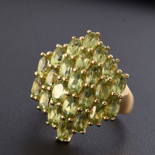 Hebei Peridot 5.25 Ct Silver Cluster Ring in 14K Gold Overlay