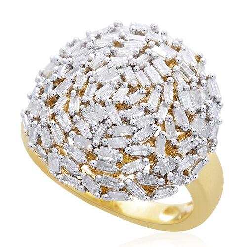 Designer Inspired - Firework Diamond Dome (Bgt) Cluster Ring in 14K Gold Overlay Sterling Silver 1.000 Ct.