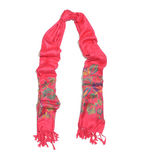 Hot Pink, Green and Multi Colour Floral and Leaves Pattern Scarf with Tassels (Size 200X70 Cm)