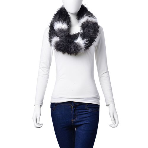 Faux Fur Black, Grey and White Colour Scarf (Size 58x15 Cm)