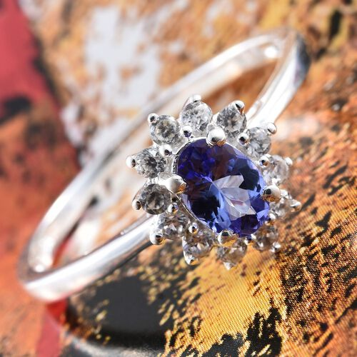 One Time Deal-Tanzanite (Ovl), Natural Cambodian Zircon Ring in Sterling Silver 1.000 Ct.