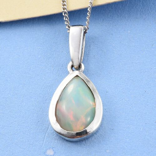 AA Ethiopian Welo Opal (Pear) Solitaire Pendant With Chain (Size 18) in Platinum Overlay Sterling Silver 1.250 Ct.