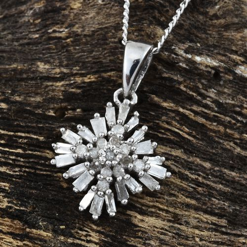 Firecracker Diamond (Bgt and Rnd) Pendant With Chain in Platinum Overlay Sterling Silver 0.330 Ct.