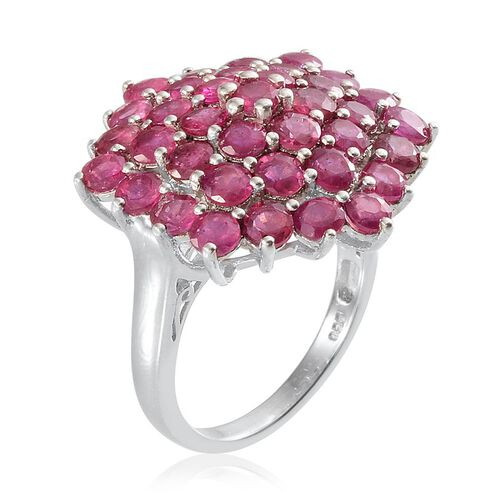 African Ruby (Rnd) Cluster Ring in Platinum Overlay Sterling Silver 9.500 Ct.