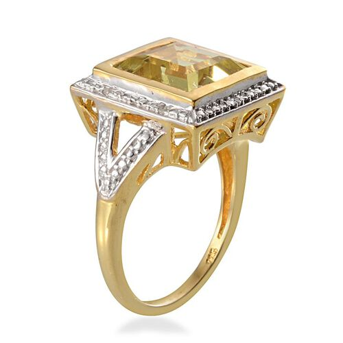 Brazilian Green Gold Quartz (Sqr 5.40 Ct), Diamond Ring in 14K Gold Overlay Sterling Silver 5.430 Ct.
