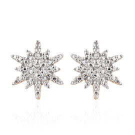 Diamond (Rnd) Snowflake Stud Earrings (with Push Back) in 14K Gold Overlay Sterling Silver