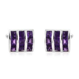 8.50 Ct Amethyst Cufflinks in Platinum Plated 925S Silver 12.73 gms