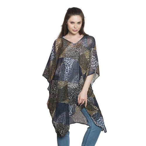 Animal Skin Printed Black, Grey, Brown and Multi Colour V-Neck Kaftan (Free Size)
