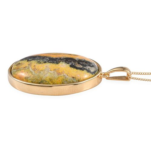 Bumble Bee Jasper (Ovl) Pendant With Chain in 14K Gold Overlay Sterling Silver 35.000 Ct.