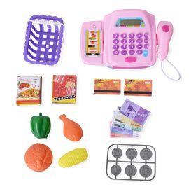 Purple Colour Pretend Play Electronic Cash Register Toy with Phone and Sound
