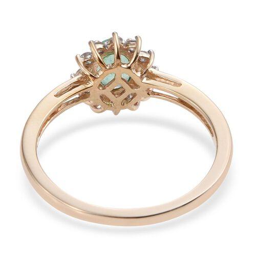 9K Yellow Gold 1 Carat Boyaca Colombian Emerald, Diamond Ring.