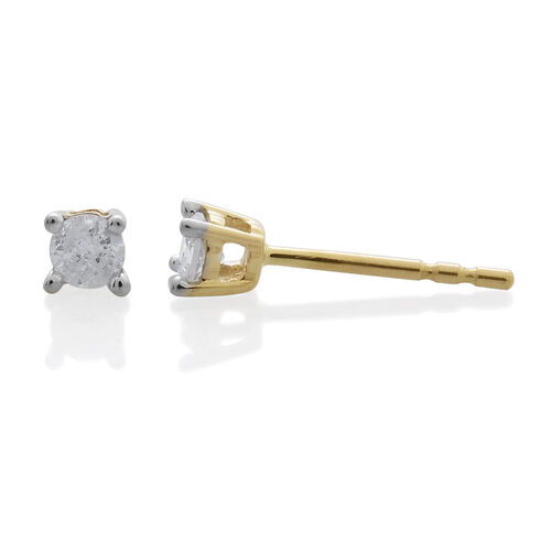 9K Yellow Gold 0.25 Carat SGL Certified Diamond I3 G-H Stud Earrings (with Push Back)