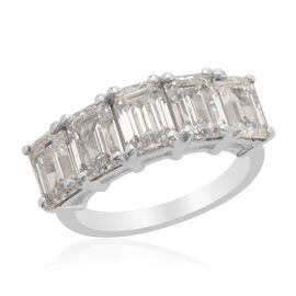 J Francis - Platinum Overlay Sterling Silver (Oct) 5 Stone Ring Made with SWAROVSKI ZIRCONIA 5.300 Ct.
