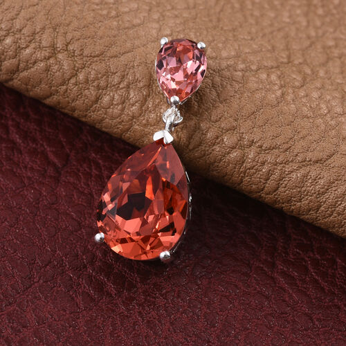 Crystal from Swarovski - Padparadscha Colour Crystal (Pear), Rose Crystal Pendant in Sterling Silver