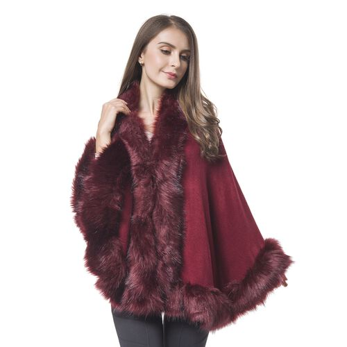 Wine Red Colour Cape with Faux Fur Edge (One Size)