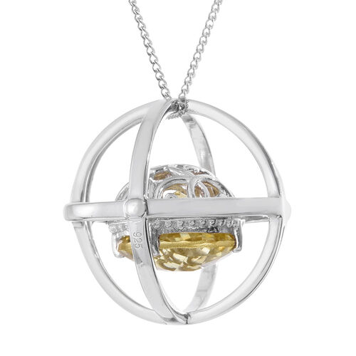 Checkerboard Cut Natural Green Gold Quartz (Rnd) Galaxy Pendant With Chain in Platinum Overlay Sterling Silver 5.750 Ct.
