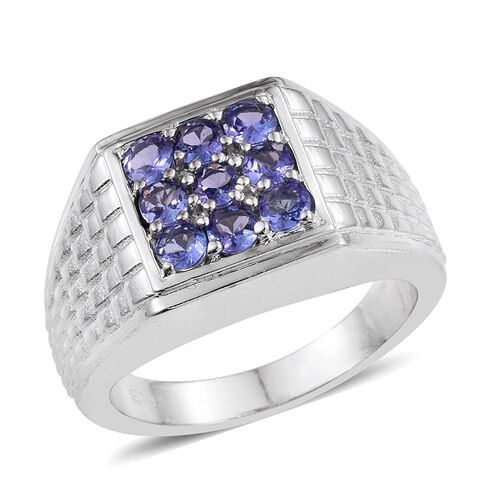 Tanzanite (Rnd) Ring in ION Plated Platinum Bond 1.000 Ct.